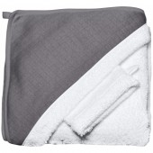 Махровое полотенце с уголком + варежка, white