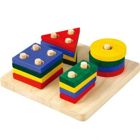 Деревянная игрушка сортер-доска с геометрическими фигурами  (арт. 2403)