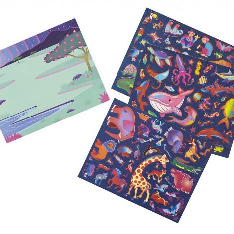 """Многоразовые 3-D наклейки с очками """"Места обитания животных""""  (арт. 9376)"""