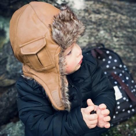 Детская зимняя шапка серии Chestnut Leather 24-36m