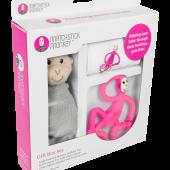 Подарочный набор PINK (100% органическая пелёнка Muslin 70х70см, прорезыватель 14см, мягкая игрушка 30см) Matchstick Monkey
