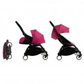 Коляска YOYO+ комплект 2 в 1 (0+ и 6+) розовый на черном шасси