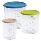 Набор пластиковых контейнеров для хранения (150 мл, 240 мл, 420 мл) - персик/синий/неон - Beaba