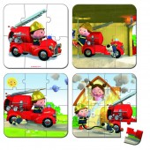 Набор из 4 пазлов Janod Лео и его пожарная машина