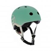 Шлем защитный детский Scoot and Ride, серо-зеленый, с фонариком, 45-51см (XXS/XS)