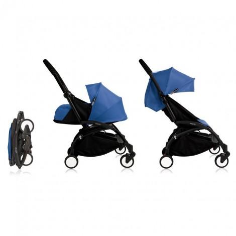 Детская Коляска YOYO комплект 2 в 1 (0+ и 6+) синий на черном шасси  (арт. 2221000000700)