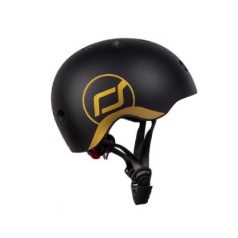 Шлем защитный детский Scoot and Ride, черный, с фонариком, 45-51см (XXS/XS)  (арт. SR-181206-BLACK)