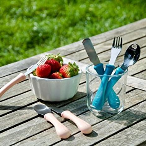 Набор столовых приборов 3 шт - Inox персиковый - Beaba  (арт. 913403)