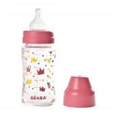 Бутылочка стеклянная Beaba Origami 240 ml - розовый
