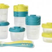 Набор из 12 -ти пластиковых контейнеров для хранения и 2-х силиконовых ложек (синий, неон) - Beaba