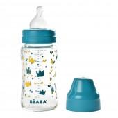 Бутылочка стеклянная Beaba Origami 240 ml - синий