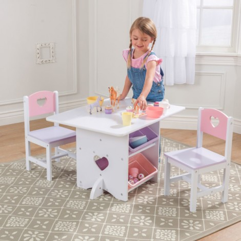 Детский стол с ящиками и 2 стульями Kidkraft Розовый  (арт. 26913)