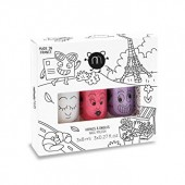 Набор из трех детских лаков для ногтей SUPER KITTY PIGLOU , Nailmatic