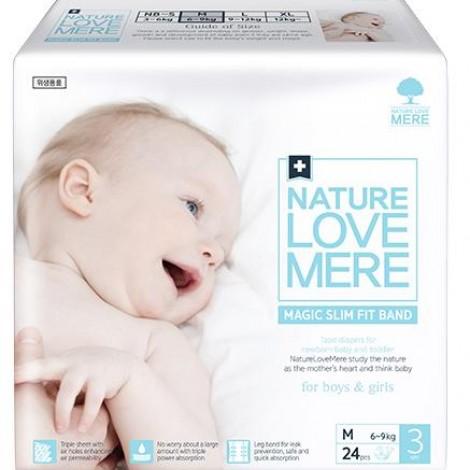 Подгузники детские Nature Love Mere, серия MAGIC SLIM FIT, размер М, 24 шт [6-9 kg]  (арт. 8809402093731)