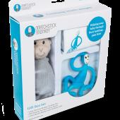 Подарочный набор BLUE (100% органическая пелёнка Muslin 70х70см, прорезыватель 14см, мягкая игрушка 30см) Matchstick Monkey
