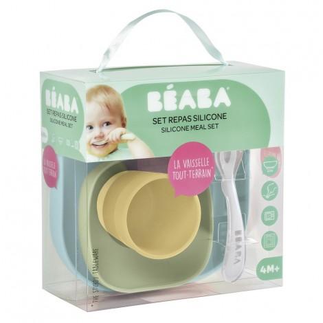 Набор силиконовой посуды Beaba 4 предмета - жёлтый - Beaba  (арт. 913436)
