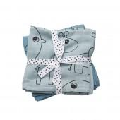 Done by Deer - Комплект муслиновых пеленок 2 шт Contour, цвет blue