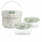 Термосумка с контейнерами (стекло) 330 ml Pack-2-Go NaturRound Chip MINILAND Baby