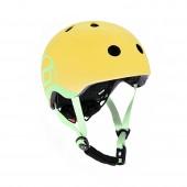 Шлем защитный детский Scoot and Ride, лимон, с фонариком, 45-51см (XXS/XS)